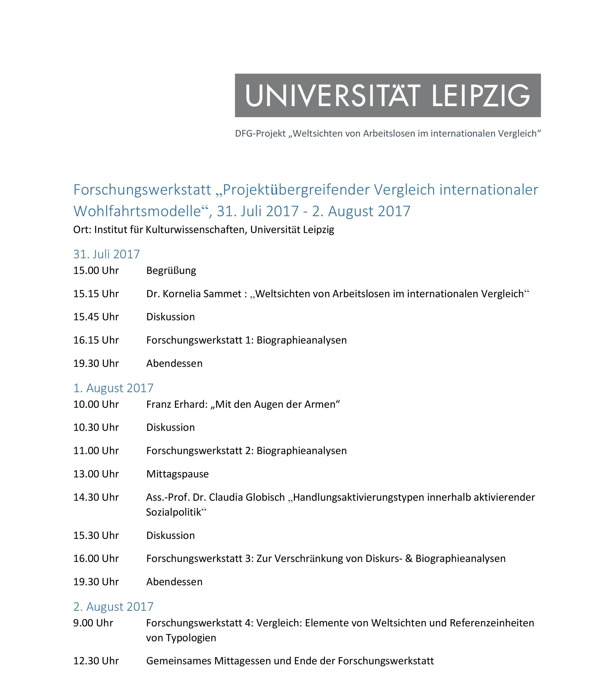 Ablaufplan Forschungswerkstatt